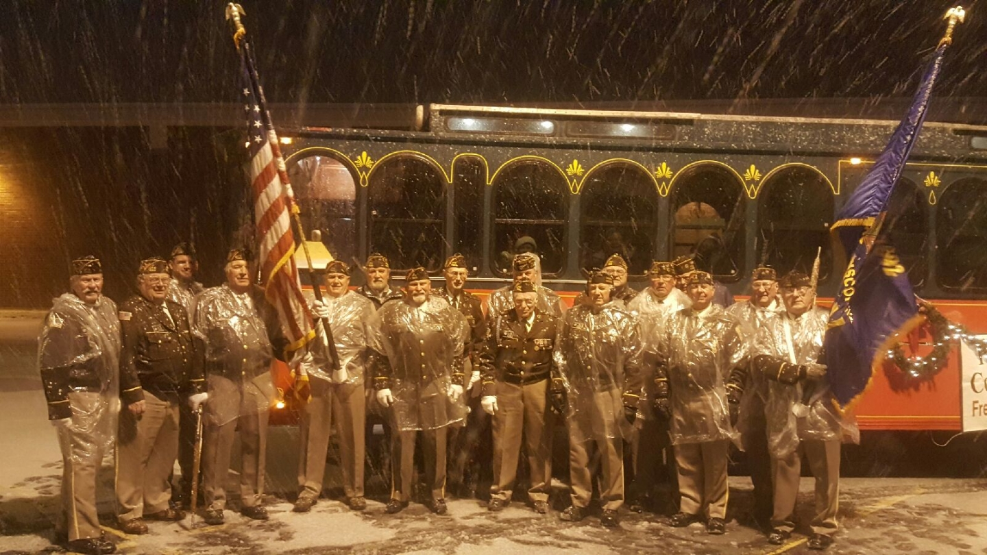 Members of Post and Auxiliary marched in the 2018 Town of Freedom Christmas Parade last night.  They persevered during challenging weather conditions, winds gusting to 30 mph with heavy wet snow